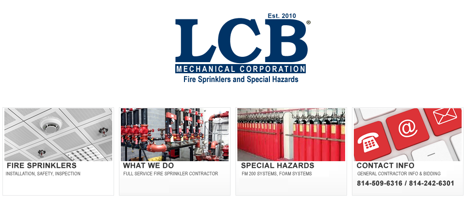 LCB Mechanical Corp - Fire Sprinkler Systems Installations and Inspections in Somerset, Altoona and State College, PA